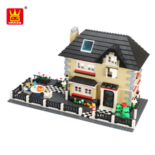 wange kids blocks villa toy diy plastic brick house toy for wholesale