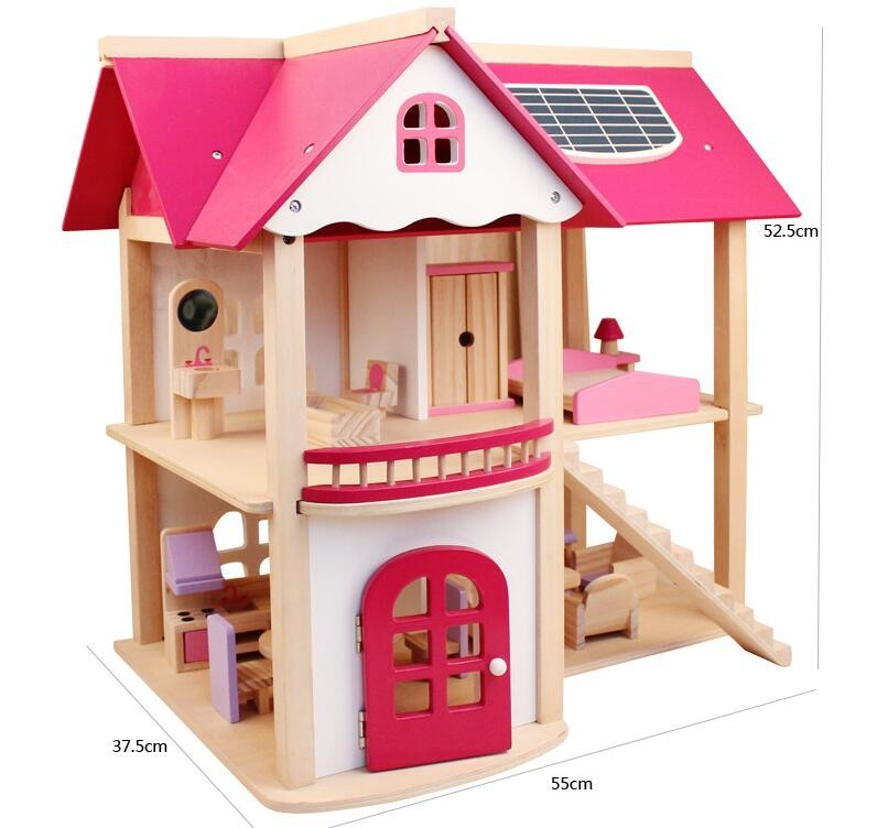 2017 New design assembly wooden toy house wooden doll play house