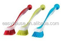 OEM cheap plastic soft bristle dish washing brush with soucker