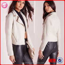 Fashion Women Faux Suede Neoprene Biker Jacket Nude