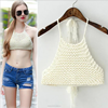 Summer necessary women's dress Europe America new sytle croptop neck knitting temperament wipes bosom new fashion dress 2015
