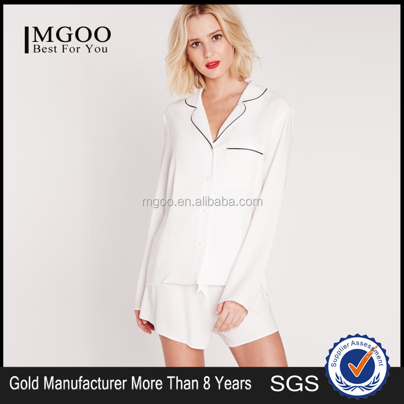 Custom All Colors Silk Contrast Piping Pyjama Set White OEM Source Bridal Nightwear Short Sleeve Sleepwear As Pictures