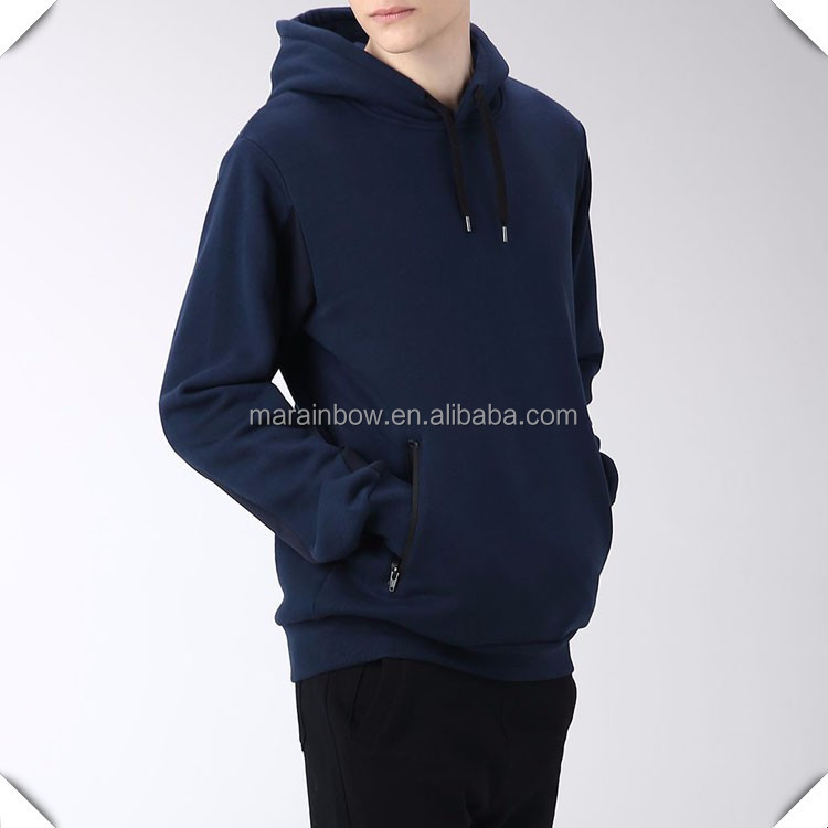 China custom wholesale navy blue cotton fleece zip pocket hoodies for men fashion streetwear low MOQ Pullover Sweater jackets