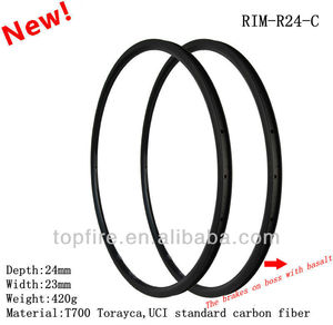 700C top fire cyclocross carbon road rims 23mm width 24mm high tubular clincher Carbon Road Bike rims