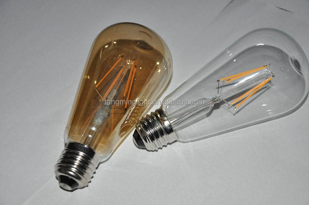 Hot sales, All glass no plastic 2200K, 2500K, 2700K, 3.5W 6W ST64 dimmable LED Filament Bulb
