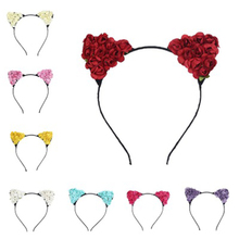 Fashion Girls Hair Accessory Cat Ears Headband With Flowers