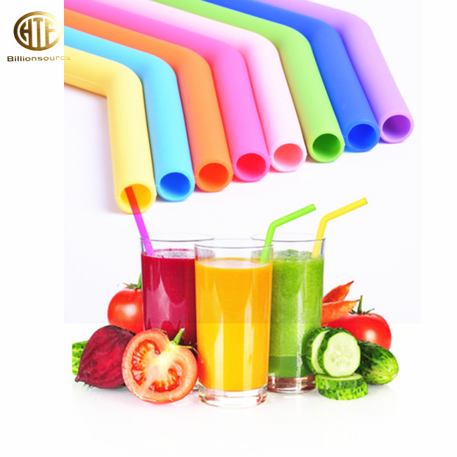 Custom Colored Reusable Flexible 8mm BPA Free Silicone Soft Rubber Folding Drinking Straw Tubing Pipe