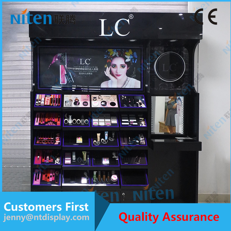 Retail non-pollution good MDF wooden cosmetic shop counter design