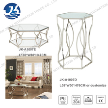 Hexagonal(six edge) tempered glass cocktail table with stainless steel frame