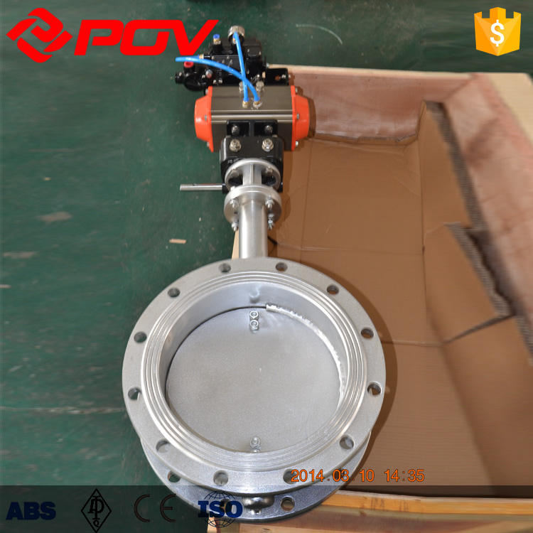 High quality DN100-DN400 ventilation flange pneumatic butterfly valve smoke