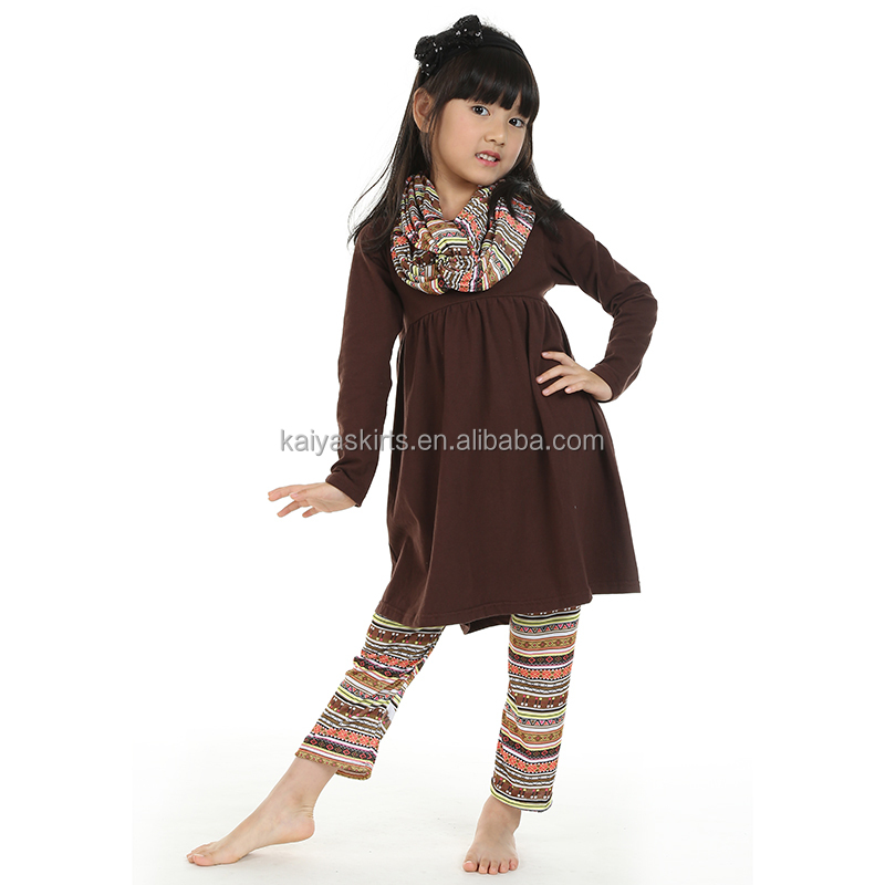 Baby girl coffee yiwu kaiya skirt -commerce firm ethnic style boutique pant sets with headband and scarf