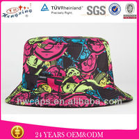 Wholesale for sale rainbow designer printed custom colorful bucket hat