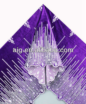 African Velvet Lace Fabric, Velvet Lace with sequins ,5984 PURPLE