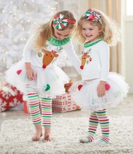 wholesale baby girl Christmas dress two-pieces winter cotton new year dresses