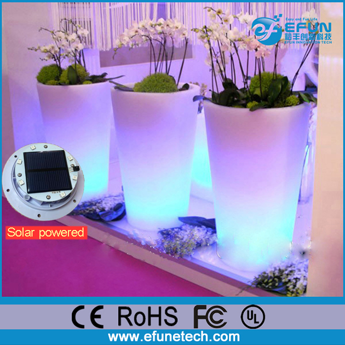 plastic remote control rgb color changing outdoor led illuminated solar powered plant pots