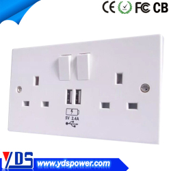 2 OUTLET POWER ADAPTER USB CHARGER WALL MOUNT SURGE PROTECTION