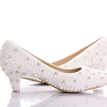 Large Size Small Heel bridal wedding shoes white pearl Low heels shoes Celebrity Party Prom Dancing Shoes