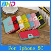 2013 Contrast color leather wallet case for iphone 5c