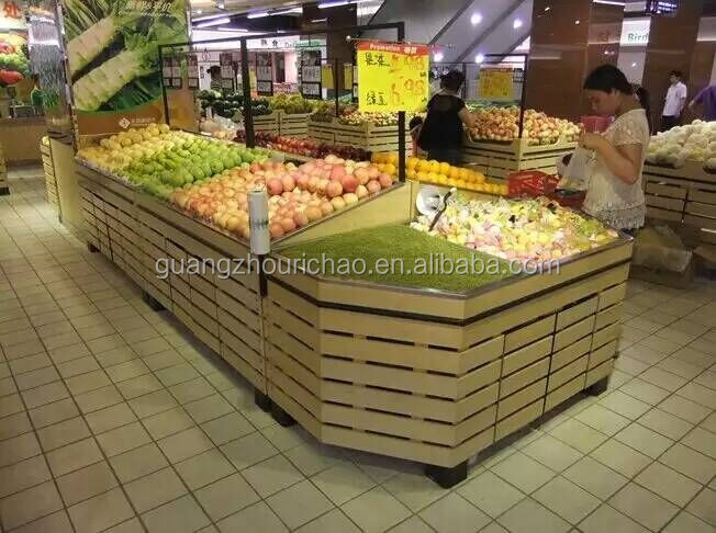 supermarket wooden display rack, vegetable and fruit shelf