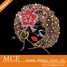 Afro Girl Custom Rhinestone Transfer Brand New Wedding Dress Hotfix Motif