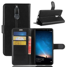 Litchi PU Card Holder Wallet Flip Leather Case For Huawei Mate 10 Lite /Honor 9i /Nova 2i /Maimang 6