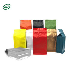 Popular food grade coffee bag/flat bottom coffee bag with valve/coffee bags packaging with valve