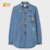 100% cotton denim fabric blue color long sleeve shirt with embroideried pattern