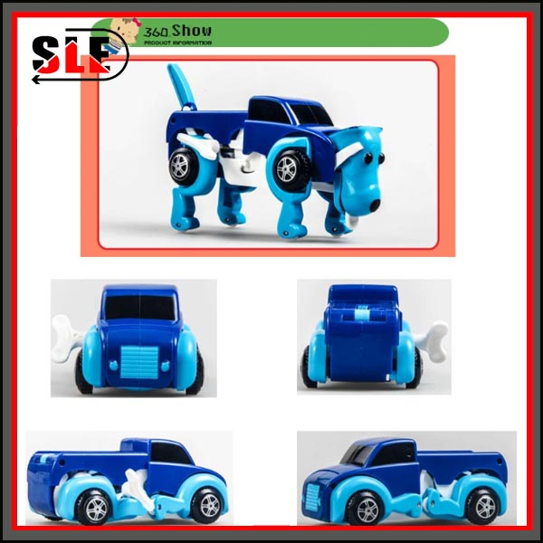 Free Shipping 4 Colors 14CM Cool Automatic Transform Dog Car Vehicle Clockwork Wind Up Toy For Children Kids Boy Girl Toy Gift