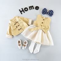 KS11068G Fashionable girls new autumn boutique clothes designer dress and matching coat