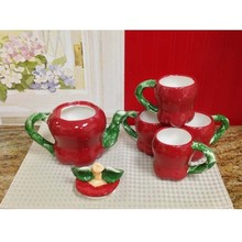 fruit teapot Red Apple Shaped Hand Painted Teapot