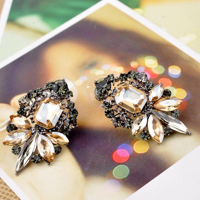 Fashion Trendy crystal Zinc Alloy earrings brwon Plant leaves Stud Earring Fine Jewelry For Woman
