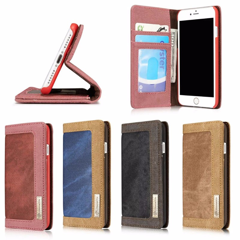 Case Me Multi Card Slots Leather Mobile Phone Case for iphone 7plus, 4 colors are available