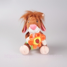 coffee short plush animal soft donkey with flower stuffed donkey toys for baby