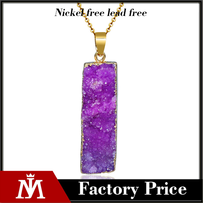 Rectangle Gemestone Amethyst Pendant Necklaces Citrine Rock Quartz Charm Gold Plated Chian for Women