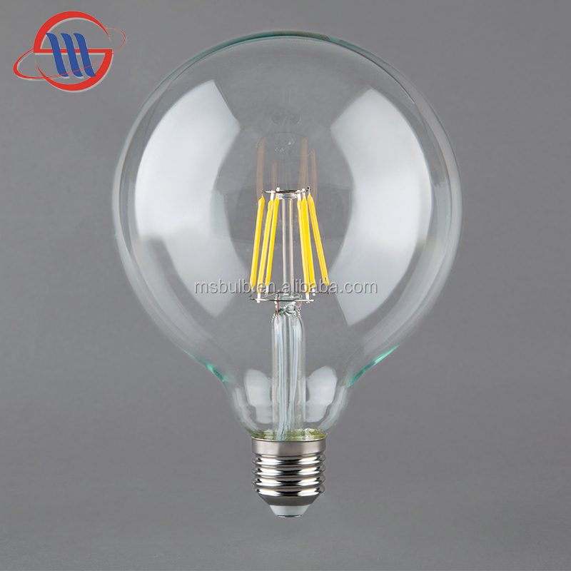 Decorative led light 4W 6W 8W Dimmable G125 LED Filament Globe Bulb with CE ROHS TUV
