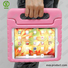 little girls pink tough EVA foam shape/shock proof handle/stand high quality case for mini ipad