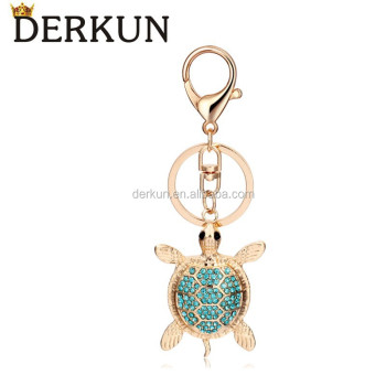 Turtle Shaped Rhinestone Keychain Metal Key Ring Custom Key Chain