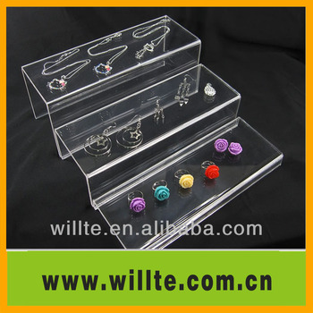 3 tier transparent jewelry acrylic display shelf