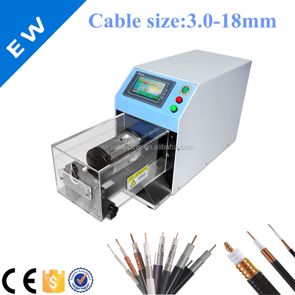Sem-automatic coaxial cable stripping machine cable making equipment EW-06G