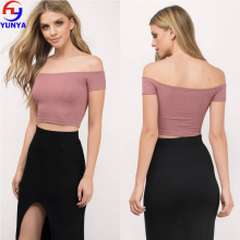 2017 lady top skirt set design cheap china lady ribbed off shoulder top