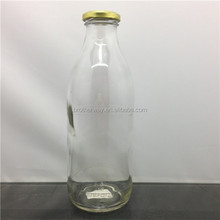750ml empty milk glass beverage drinking bottle with metal lid