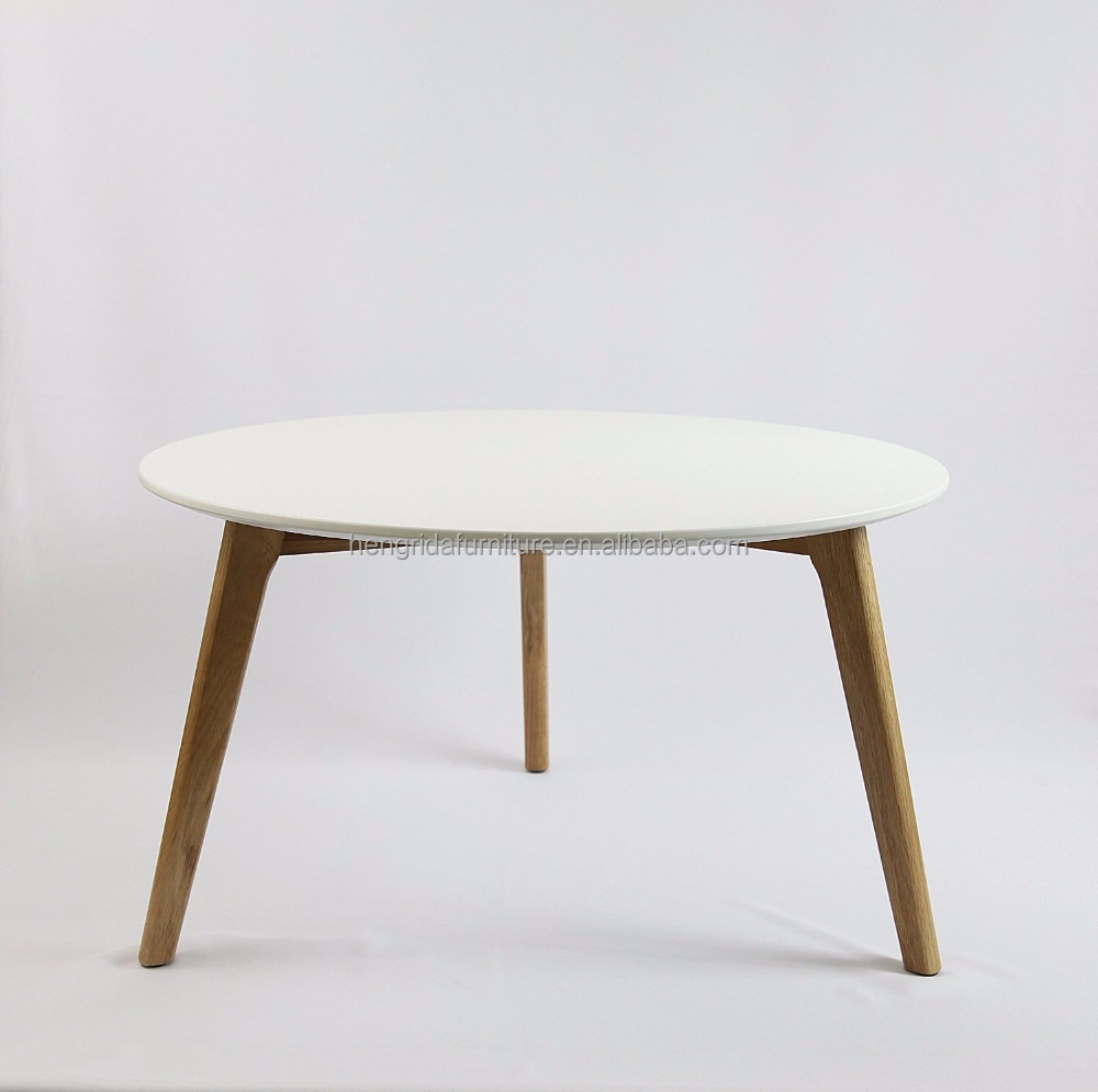 scandinavian solid wood oak round side table with white MDF top