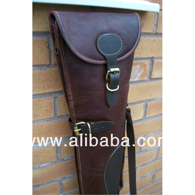 BURGANDY LEATHER BROWN THICK LAMBS WOOL LINED SHOT GUN SLIP
