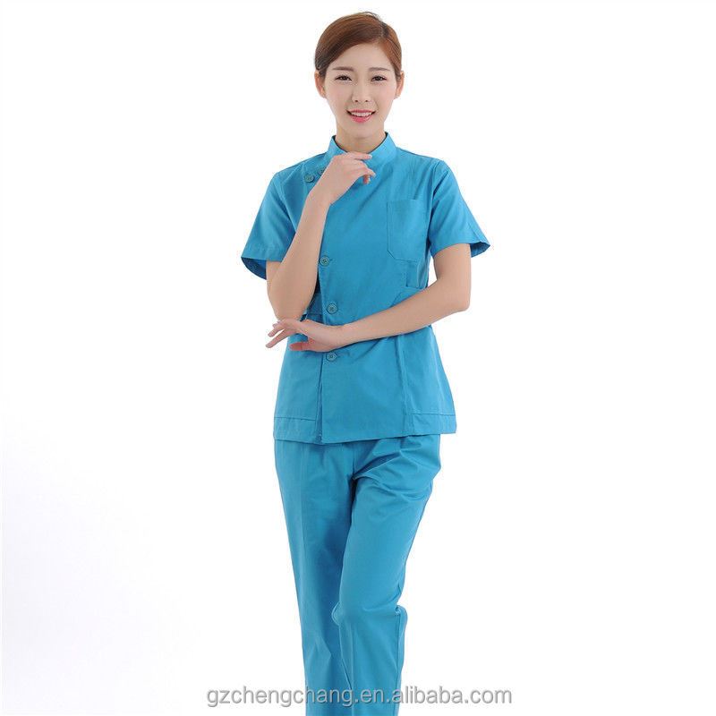 Women Medical uniforms Nursing Top+Pants Blue Scrub Sets scrubs uniforms Short Sleeve Scrubs doctor uniform