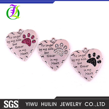 P700002 Huilin Jewelry No longer by my side but Forever in my Heart Pet Lover Crystal Paw Print Pendant
