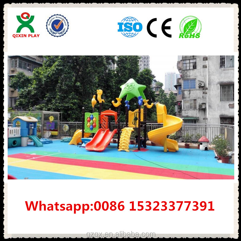 Top quality plastic slide tree house, used kids outdoor toys, preschool outdoor play equipment QX-050A