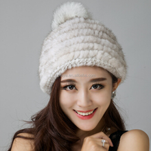High Quality Fashion Knitted Mink Beanie Cap Women Winter Mink Fur Hat Beanies