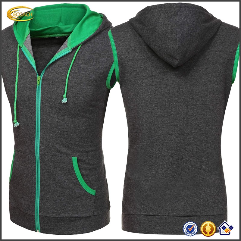 Ecoach Wholesale OEM High Quality Men Casual Sleeveless Hoodie Zip Up Vest Gym Sports Hooded with Pockets