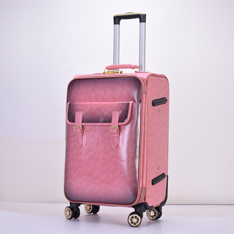 new fashionable pu leather computer trolley travel luggage bags