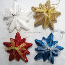 great quality cheap hanging foam shiny glitter multi angle star for christmas decotions